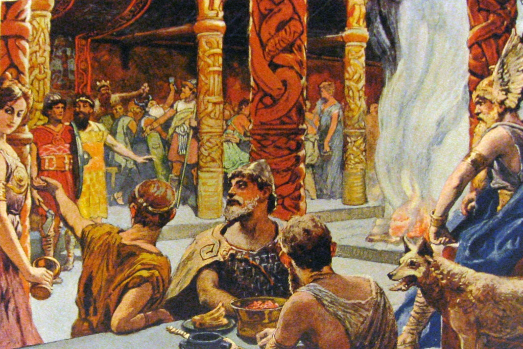 Image of the Einherjar gathered in Valhalla.