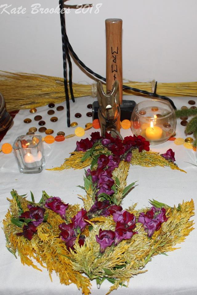An altar prepared to honour Thor during a Lammas faining.